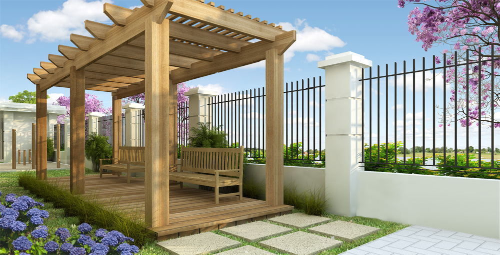 jardim vertical autocad:Perspectiva Pergolado – DopePicz